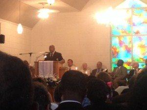 Congressman John Lewis (D-GA) speaking at Mt. Zion church in Neshoba County.